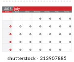 july 2015 planning calendar | Shutterstock .eps vector #213907885
