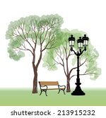 bench in park with tree and... | Shutterstock .eps vector #213915232