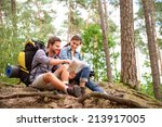 happy couple going on a hike... | Shutterstock . vector #213917005