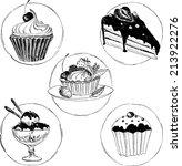 set of hand drawn desserts ... | Shutterstock .eps vector #213922276