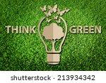 paper cut of eco on green grass | Shutterstock . vector #213934342