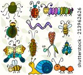 cute bugs and funny insects.... | Shutterstock .eps vector #213962626
