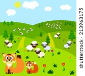 cartoon background with fox and ... | Shutterstock .eps vector #213963175