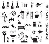 Garden And Birds  Icons Set ...