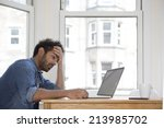 stressed and frustrated asian...   Shutterstock . vector #213985702