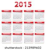 red glossy calendar for 2015... | Shutterstock .eps vector #213989602