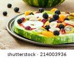 healthy fruit pizza concept  ... | Shutterstock . vector #214003936