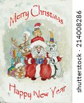 vintage christmas greeting card | Shutterstock . vector #214008286