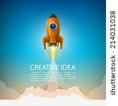 space rocket launch. rocket... | Shutterstock .eps vector #214031038