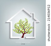 eco house vector | Shutterstock .eps vector #214036912
