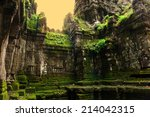 mystic temple at angkor in the... | Shutterstock . vector #214042315