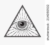 all seeing eye symbol  vector... | Shutterstock .eps vector #214050532