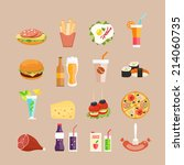 food icons. fast food  drinks... | Shutterstock . vector #214060735