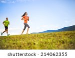 cross country trail running... | Shutterstock . vector #214062355