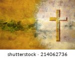 cross on rust   editorial... | Shutterstock . vector #214062736