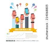 group of hands holding...   Shutterstock .eps vector #214068805