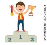 illustration of a boy winner on ...   Shutterstock .eps vector #214075075