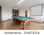 pool room with empty picture... | Shutterstock . vector #214075216