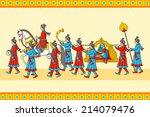 indian wedding baraat ceremony... | Shutterstock .eps vector #214079476
