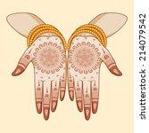 indian bride with mehandi in... | Shutterstock .eps vector #214079542