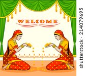 indian woman welcoming with... | Shutterstock .eps vector #214079695