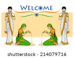 woman in welcome gesture for... | Shutterstock .eps vector #214079716