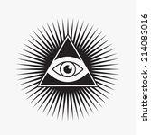 all seeing eye symbol  star... | Shutterstock .eps vector #214083016