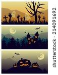 3 halloween backgrounds | Shutterstock .eps vector #214091692
