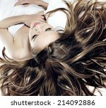 beautiful young blonde woman... | Shutterstock . vector #214092886