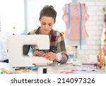 dressmaker woman working with... | Shutterstock . vector #214097326