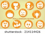 collection of halloween themed... | Shutterstock .eps vector #214114426