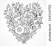 vector hand drawn floral heart | Shutterstock .eps vector #214114702