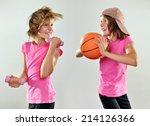 happy smiling having fun little ... | Shutterstock . vector #214126366