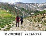couple of travelers walking on... | Shutterstock . vector #214127986