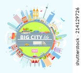 big cityscape located around... | Shutterstock .eps vector #214129726