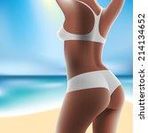 torso of luxurious woman in... | Shutterstock .eps vector #214134652
