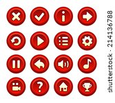 red and white game buttons and...