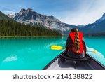 Canoeing On Emerald Lake In...