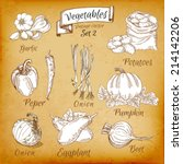 vegetables set 2  vintage style ... | Shutterstock .eps vector #214142206