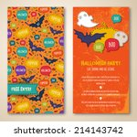 halloween two sides poster or... | Shutterstock .eps vector #214143742