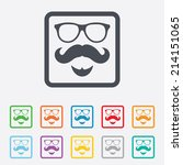 mustache and glasses sign icon. ... | Shutterstock .eps vector #214151065