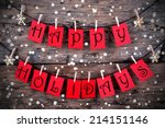 red tags with happy holidays on ... | Shutterstock . vector #214151146