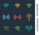 collection of color flat wifi... | Shutterstock . vector #214156495