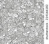 cartoon vector doodles hand... | Shutterstock .eps vector #214166182