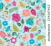 beautiful floral seamless... | Shutterstock .eps vector #214167412