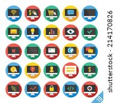 round vector flat icons set...