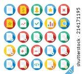 round vector flat icons set...