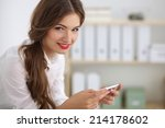 businesswoman sending message... | Shutterstock . vector #214178602