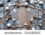 silver snow flakes with pine... | Shutterstock . vector #214183042