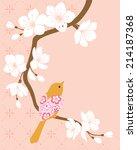bird on blossom cherry branch. | Shutterstock .eps vector #214187368